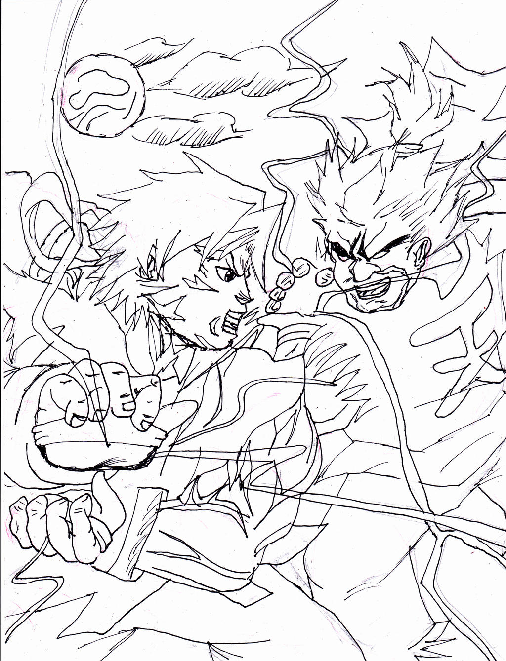 Ryu vs akuma by sugoroku hyru on deviantart for Ryu coloring pages