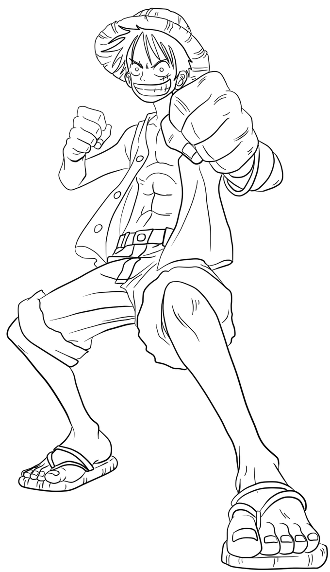 Luffy Lineart : Luffy lineart by elsewhereland on deviantart