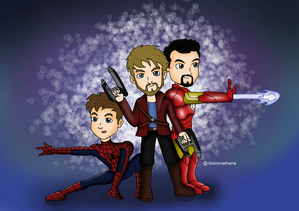 Star Lord And Rocket Raccoon By Timothygreenii On Deviantart: Spiderman, Star Lord And Iron Man By NathanaRibeiro On