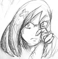 A sketch of a skeptical girl. by Pirasenshi