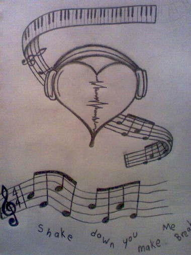 music drawings tattoo heart tattoos cool easy pencil broken designs sketches note deviantart drawing sketch headphones heartbroken cute notes awesome