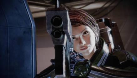Rin Shepard Gun Down Barrel by killerrin