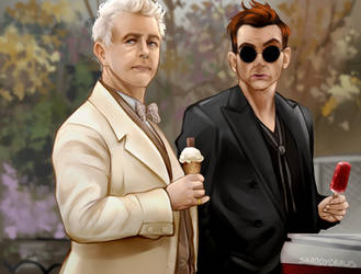 Aziraphale and Crowly- Screen cap redraw by SaraShadow00