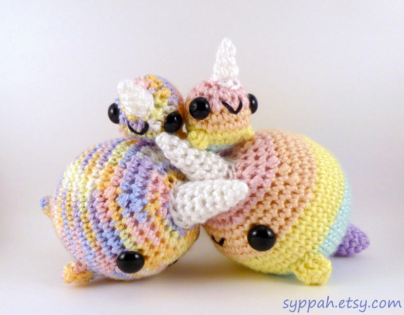 Pastel rainbow narwhal family by syppahscutecreations on - Cute narwhal wallpaper ...