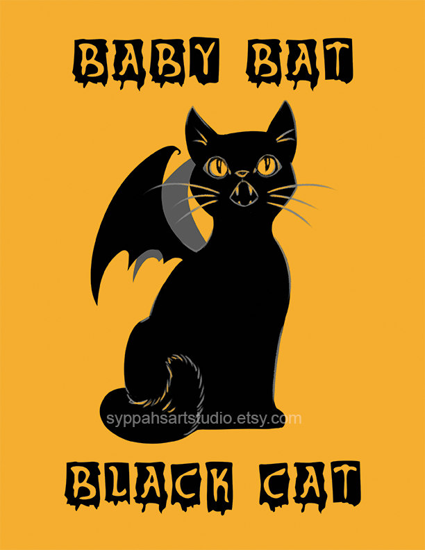 Baby Bat Black Cat by syppahscutecreations