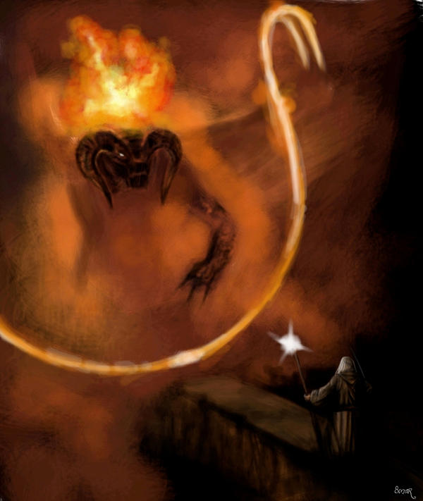 Gandalf VS Balrog by OmaruIndustries
