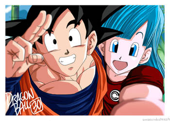 Bulma and Son Goku 30th anniversary selfie by OmaruIndustries