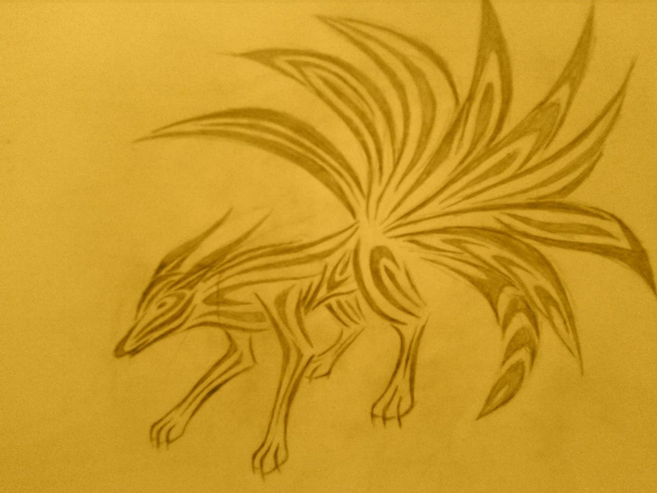 Tribal nine tailed fox tattoos
