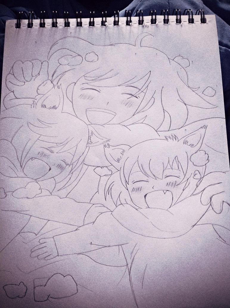 Wolf Children Sketch by LadyCrimson26