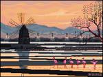 six flamingos