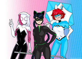 Miraculous Spider-Gwen, LadyNoir, and Bunnix