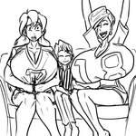 Taka, Chokichi, and Penny enjoy the superbowl