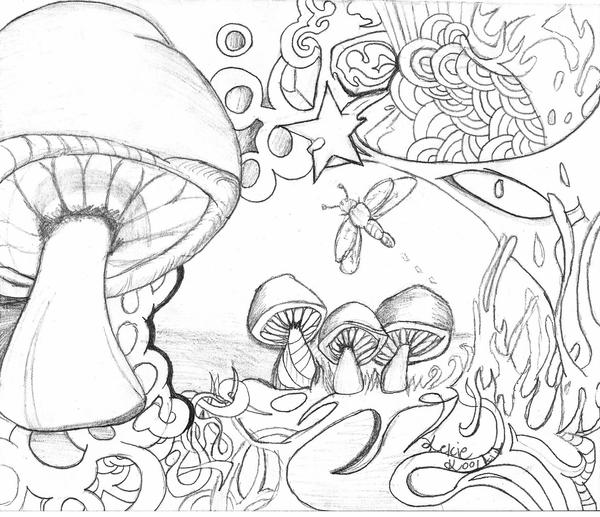 Trippy Mushroom Coloring Pages Mushrooms ftw by