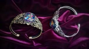 Filigree Opal Bracelet_Silver+Bronze_2