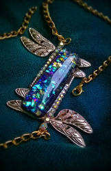 Dragonfly Opal Necklace_Indigo + Gold