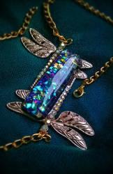 Dragonfly Opal Necklace_Indigo + Gold