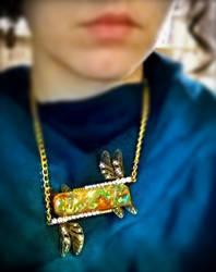 Dragonfly Opal Necklace_Burnt gold orange+Bronze_2