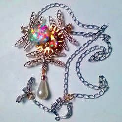 Dragonfly Astral Necklace_Silver Tone