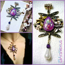 Art Nouveau Steampunk Dragonfly and Opal pendant
