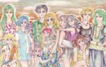 Sailor Moon group. Sunset