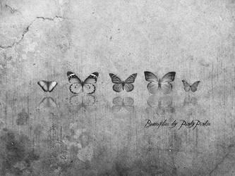 Butterflies black n' white by PinkyPinkee