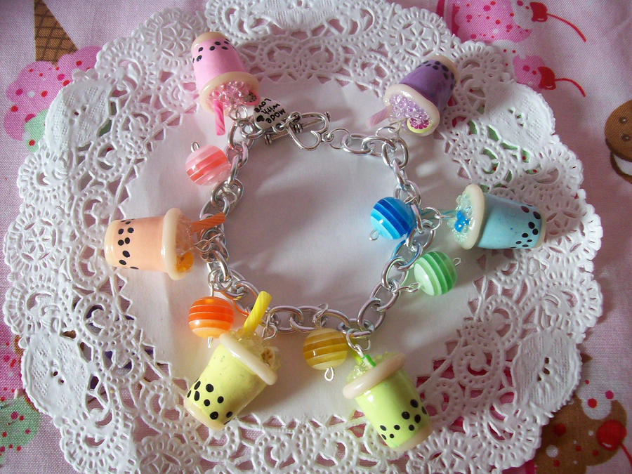 Bubble Tea Charm Bracelet by lessthan3chrissy