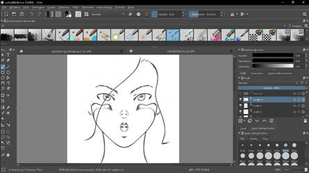 sketch of the face of Gunnm made with Krita 4.0 by MaurizioXD