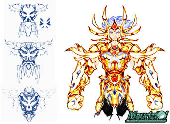Fan Art - Sketch Gold Saint Cancer Death Mask by MaurizioXD