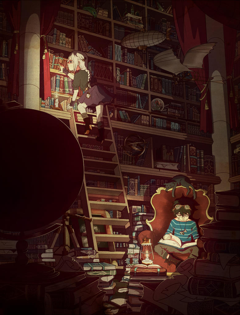 Steampunk library by Sixtine-D