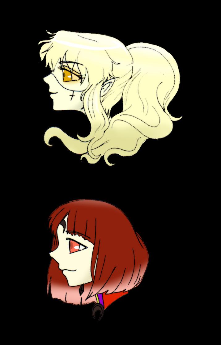 Delphine and Garnet Headshots by Danielle-chan