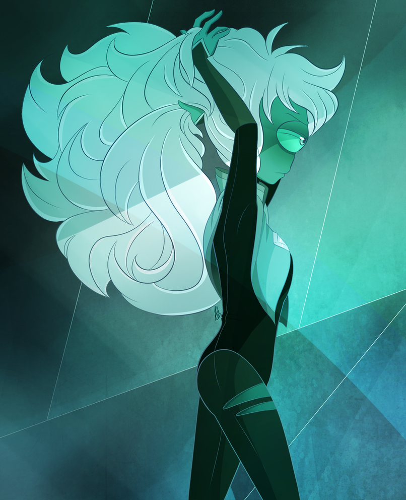 """The menace gets in the way all the time. I've tried changing it but it never seems to work."" Nephrite doesn't like that she has such big hair :')"