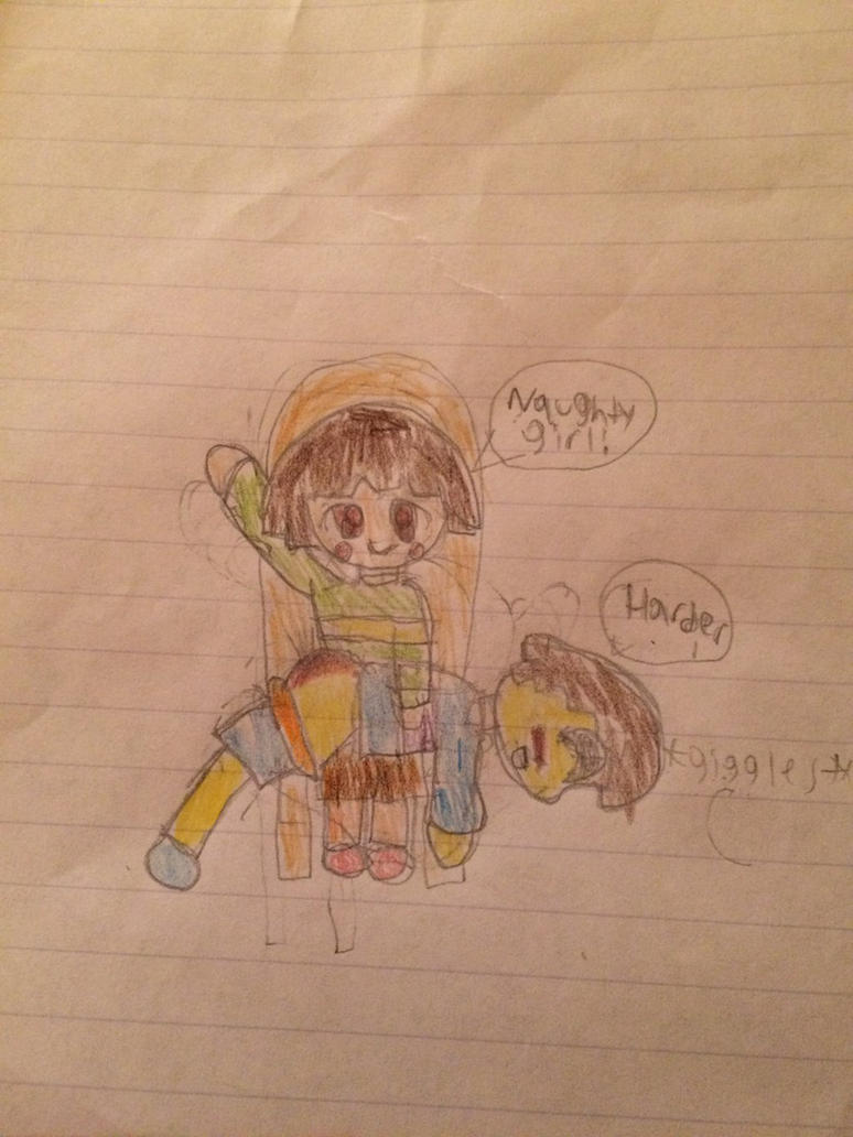 Chara spanking Frisk(colored for Conkerfan420) by Wizard9876