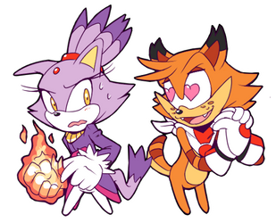 ''She's PURRfect~!'' - Bubsy x Blaze by Cylent-Nite