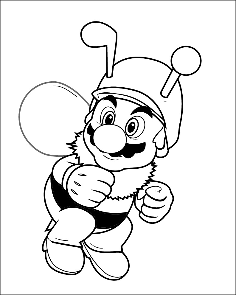 Bee Mario Colour in by connolystudios2 on DeviantArt