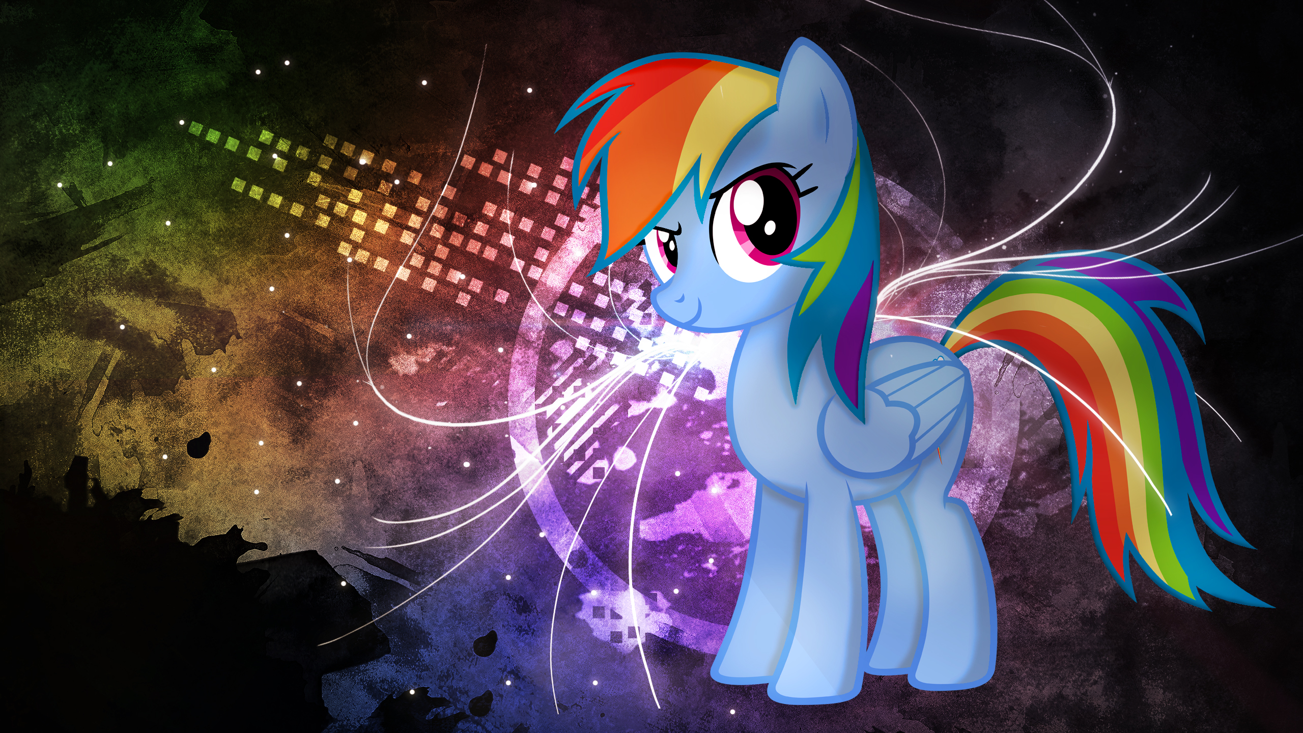 Rainbow Dash Neon Graffiti Wallpaper by ALoopyDuck