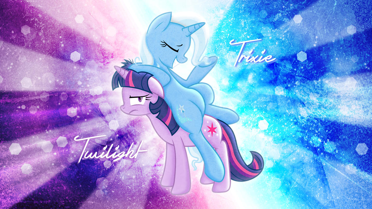 trixie_and_twilight_wallpaper_by_aloopyd