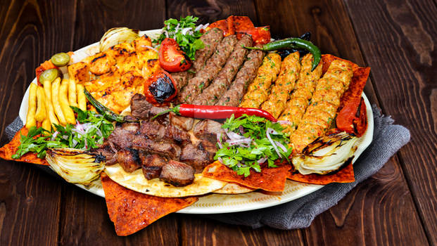 Shish kebab on a stick, from ground beef meat.