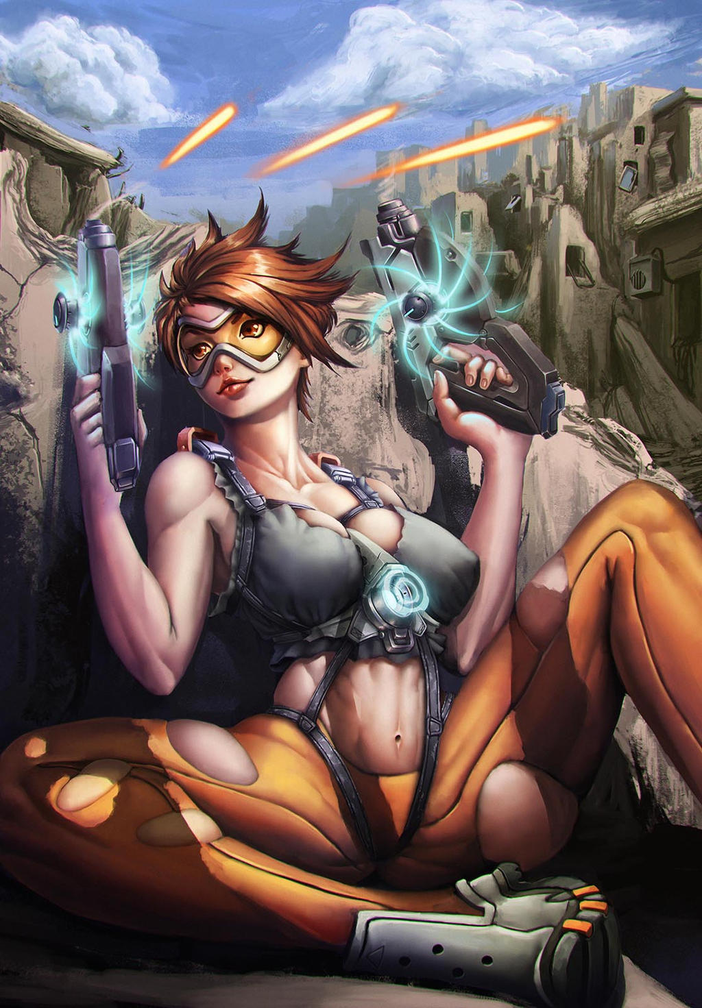 Tracer takes cover by Yangyue on DeviantArt
