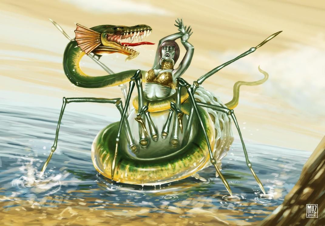 Lambton Worm vs Arachne by muzski