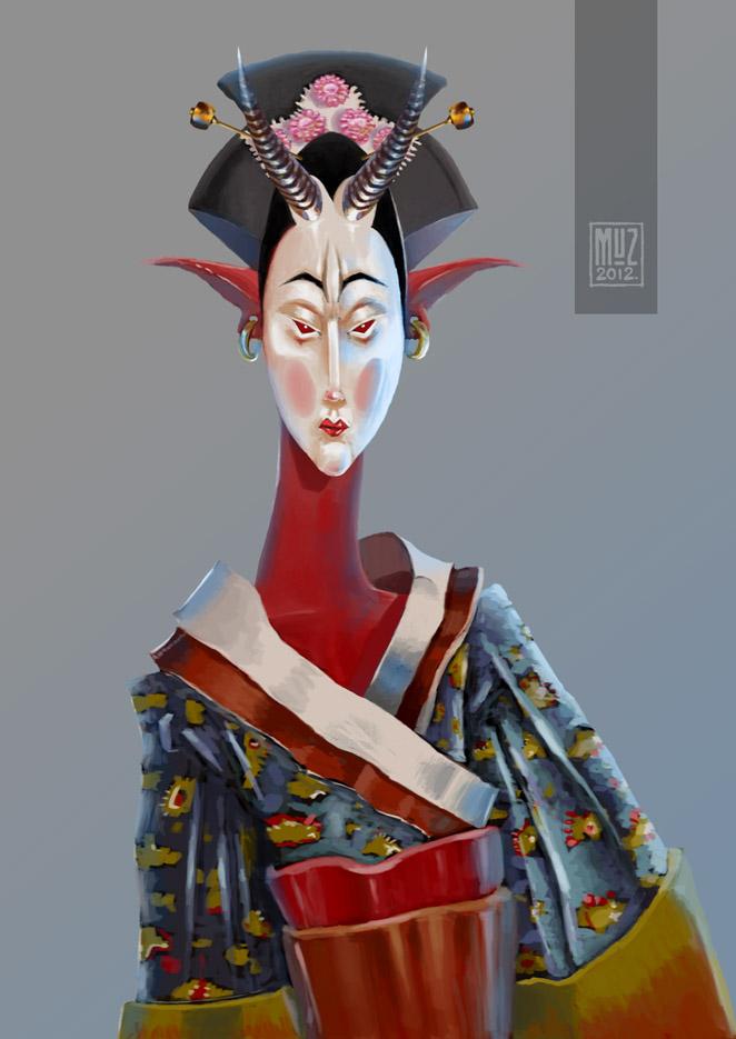 demon geisha chick redux by muzski