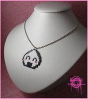 Happy Onigiri Pixel Necklace by Gloomyswirl
