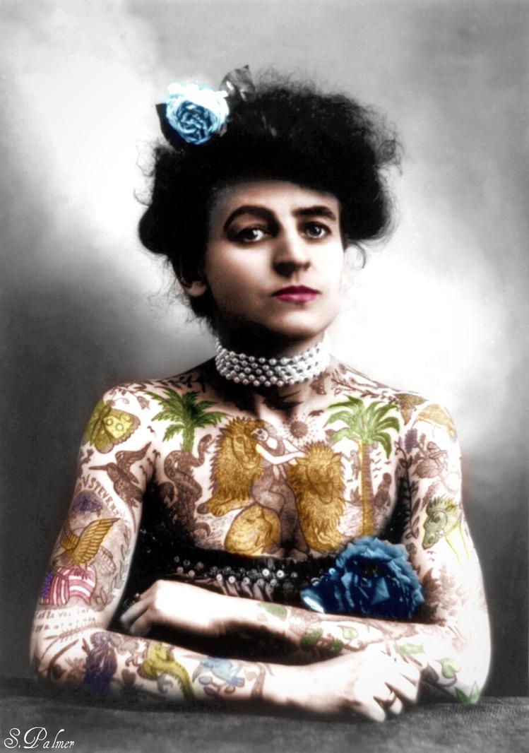 Maud Wagner, Tattoo artist/circus performer 1907 by ziegfeldfollies