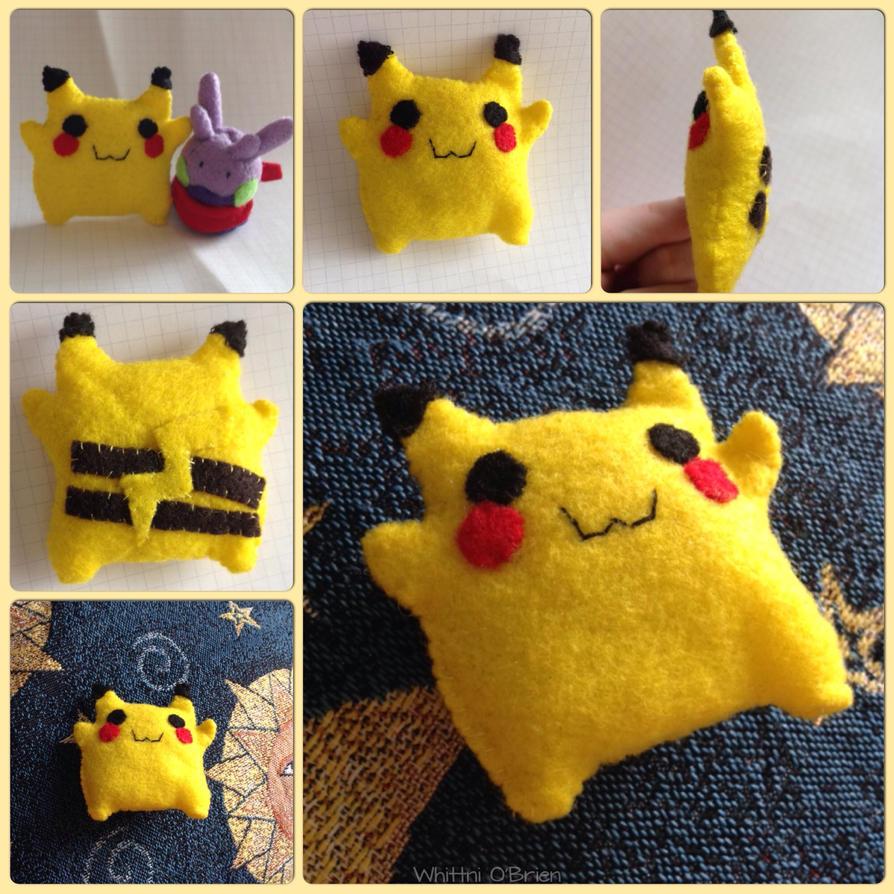 flat fat and fabulous felt plush pikachu by gamerwhit on deviantart