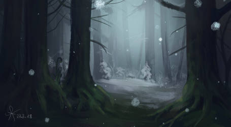 Firtst  snow in a magical forest