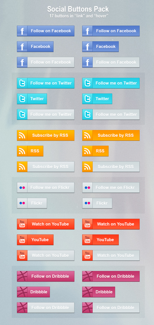 Social Buttons Pack by mygreed