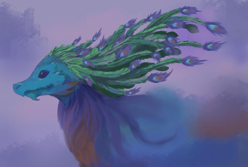 Peacock Dragon within the Clouds -  Contest Entry by Shiafira