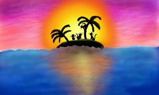 Sunset at Cat island XD by Sakuraus