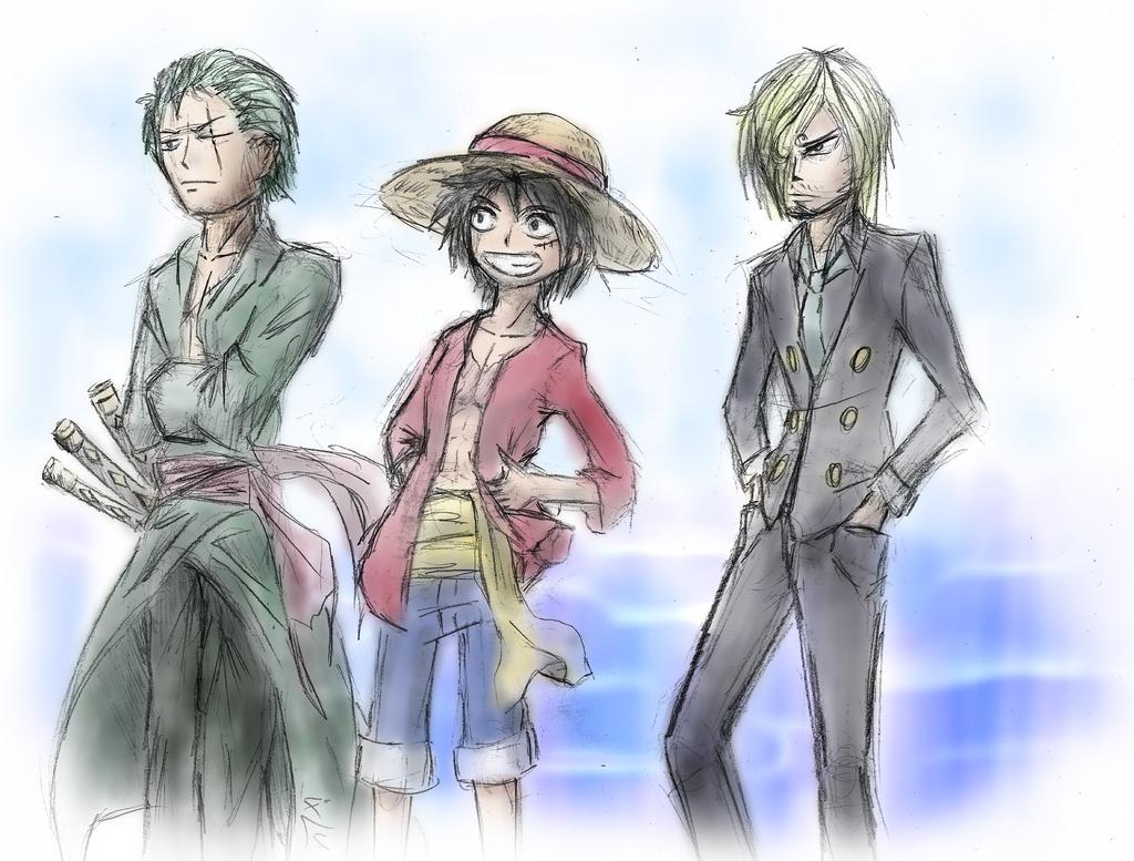 One piece : Zoro, Luffy, Sanji by xLudo8D