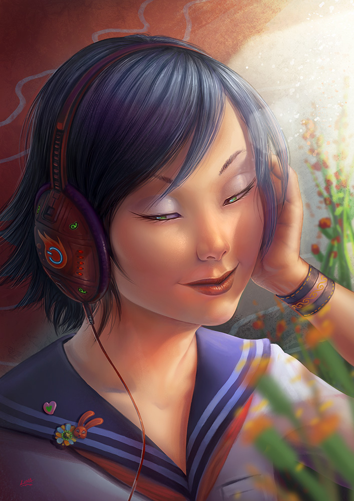 Head Phone Girl by Lun-art