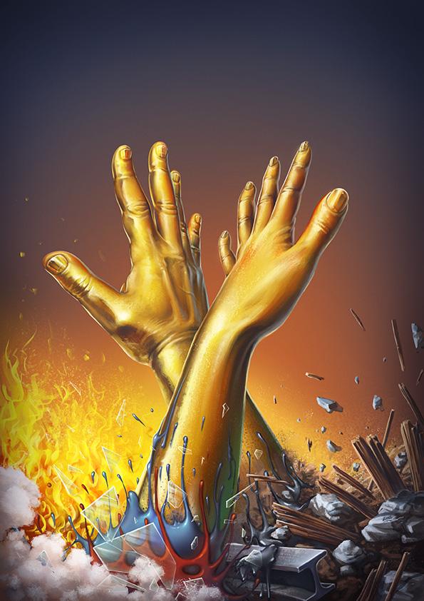 Gold Hands by Lun-art